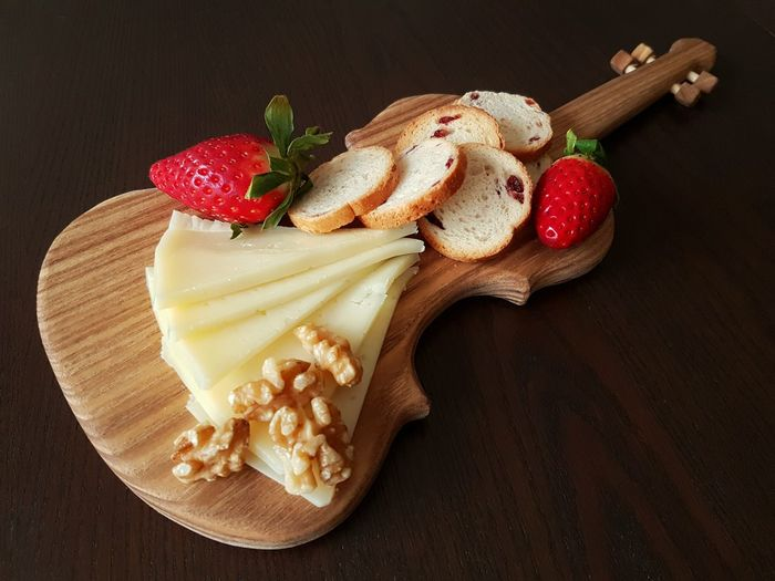 Wooden board in shape of violin Strawberry Food Dessert No People Close-up Fruit Variation Sweet Food Homemade Freshness Indoors  Music Wooden Texture