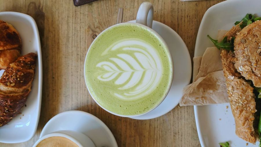 EyeEm Selects Food And Drink Drink Coffee - Drink High Angle View Food Healthy Eating Indoors  Latte Sweet Food No People Ready-to-eat Plate Frothy Drink Freshness Cappuccino Close-up Day Matcha Budapest Bio Breakfast