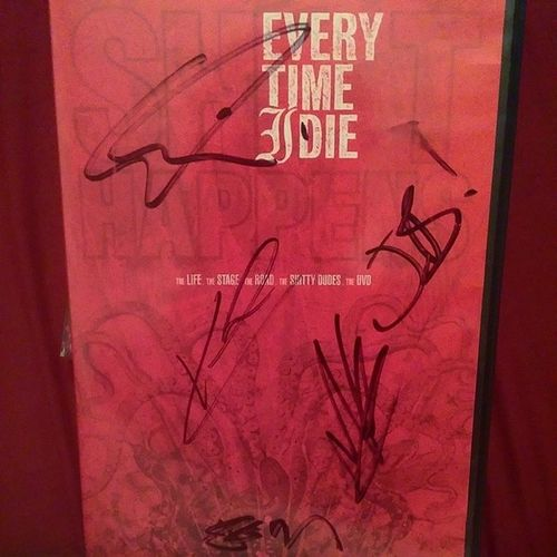One of my favorite music DVDs of all-time. Signed by @jordanetid, @keithbvckley, @andycomplains, Josh Newton, and Ratface. I mean boy... Ratboy. Warped Tour 08 or 09 - I forget. @everytimeidie ShitHappens Shinfo Etid Yearofthepartycrasher