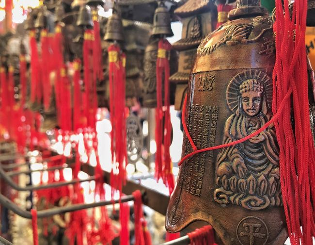 Budhhism Buddha Religion Belief Red Hanging Place Of Worship Spirituality No People Focus On Foreground Close-up Building Art And Craft Architecture Religious Equipment Day Outdoors Craft