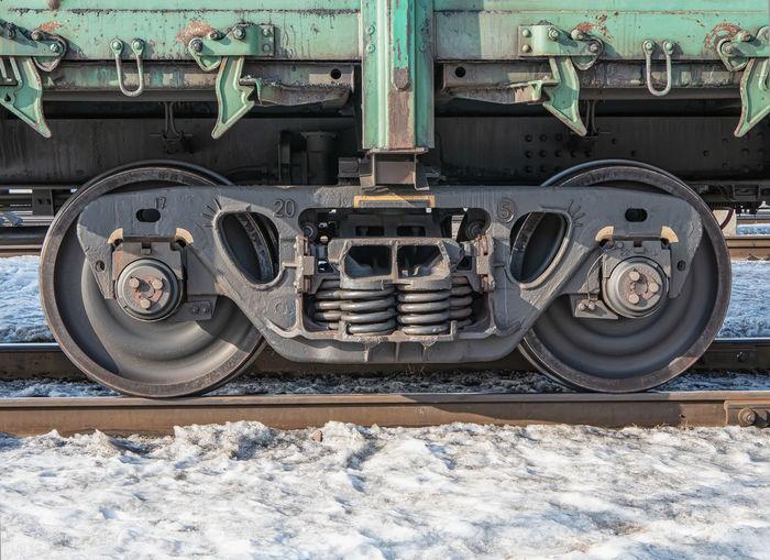 Close-up of train at railroad tracks during winter