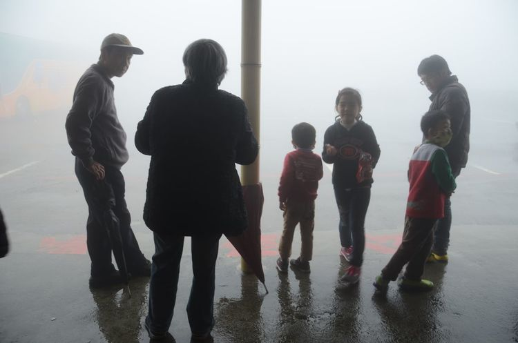 Fog Foggy Group Of People Lifestyles Standing Togetherness Waiting Waiting In Line
