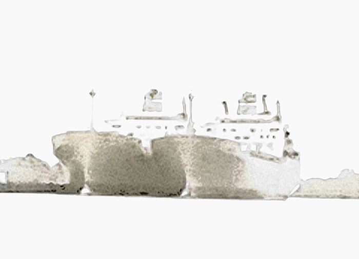 Boat Cargo Ship Crescent Moon Double Exposure Fog Foggy Freighter Mississippi River Outdoors Ship Ship Shado Ships In Fo Twin