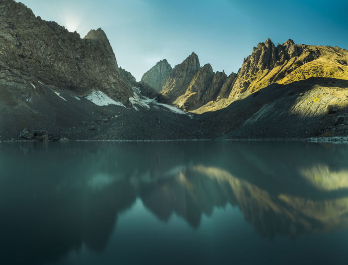 Scenic View Of Mountains In Lake Against Sky