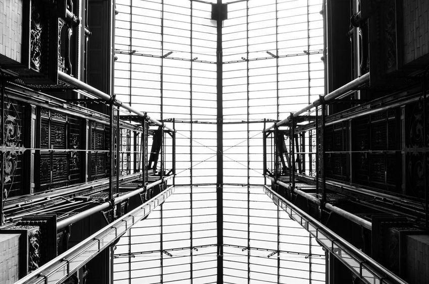 Architectural Feature Architecture Blackandwhite Bradbury Building Building California Geometric Shape Los Angeles, California