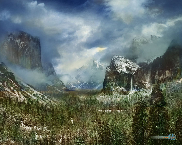 Clearing winter storm at Yosemite valley, colorized 1944 Ansel Adams photo by Alex Y. Lim Yosemite National Park Yosemite Valey Ansel Adams Beauty In Nature Clearning Colorized Nature Outdoors Scenics Sky Storm Cloud Tranquility