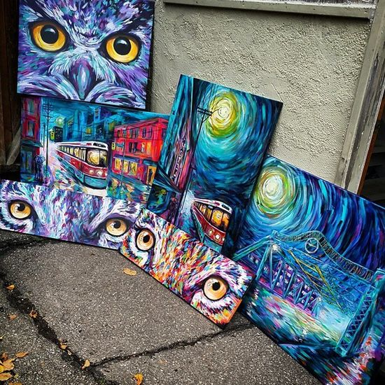 Some of my recent works waiting outside to be photographed in natural light. Caseyoneillart Torontoartist