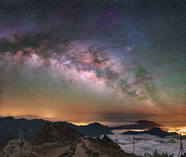 Panoramic image from the peaks of La Palma island. Nightphotography Night Astrophotography Astronomy Landscape Landscape_Collection Panoramic Milky Way Milkyway Dark Sky Space And Astronomy Space Night Photography Star - Space Star Field Nature Photography Scenics - Nature Nature Forest Panoramic Photography Mountain Island Night Lights Nightscape