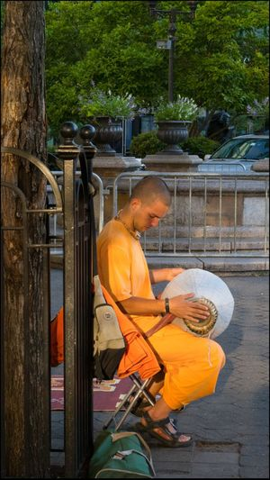 Krishna devotee in Union Sq. - 6/18/16 As I Sees It EyeEm Best Shots EyeEm StreetPhotography, NYC Faith Follower Feel The Journey First Light In The Park Fresh On Market June 2016 No Edits No Filters Original Experiences Outdoors Rhythmic Music The Innovator Reportage Images Taking Photos Photography From My Point Of View Live Love Shop