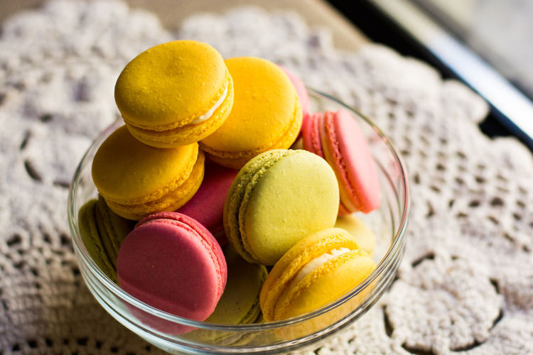 Close-Up Of Macaroons In Bowl On Table