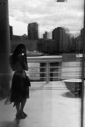 Black And White Photography Buildings & Sky Reflection City One Person Outdoors Cloud - Sky Water Freshair Hello! JustMe Self Portrait