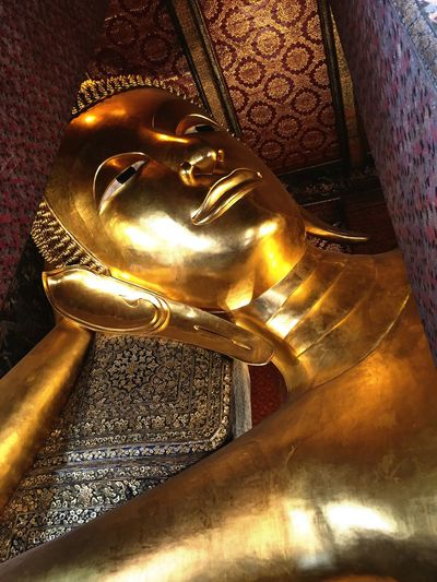 Religion Human Representation Male Likeness Place Of Worship Statue Spirituality Gold Colored Cultures Sculpture Indoors  No People Close-up Day Bangkok Thailand Temple Timeless Art