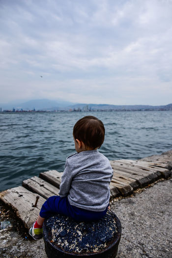 Rear View Sitting Sea Beach One Person Casual Clothing Horizon Over Water Looking At View Childhood Relaxation Boys Nature Sky One Boy Only MySON♥ Myson MySonMyLoveMyEverythingWater Karşıyaka Sahil Izmir Turkey Lonely Loneliness Be. Ready.