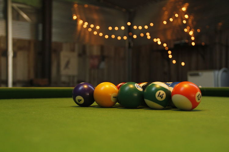 Surface level of multi colored snooker balls