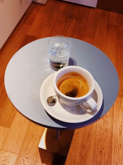Espresso Espresso Drink Table Refreshment Food And Drink High Angle View Indoors  Coffee Cup Coffee - Drink No People Drinking Glass