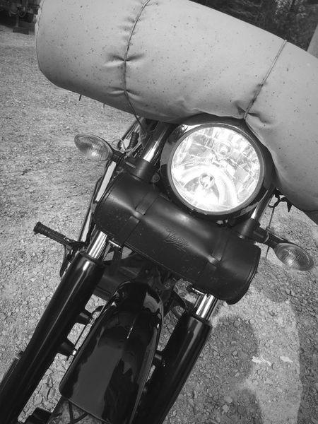 Motorcycle Starting A Trip B&W Portrait