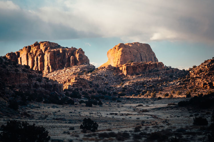 Landscape of beautiful Moab desert, Utah Solid Sky Cloud - Sky Scenics - Nature Beauty In Nature Geology Nature Tranquility Non-urban Scene Tranquil Scene No People Physical Geography Mountain Remote Land Environment Landscape Outdoors Eroded Arid Climate Formation Climate Travel Destinations Tourism Hiking