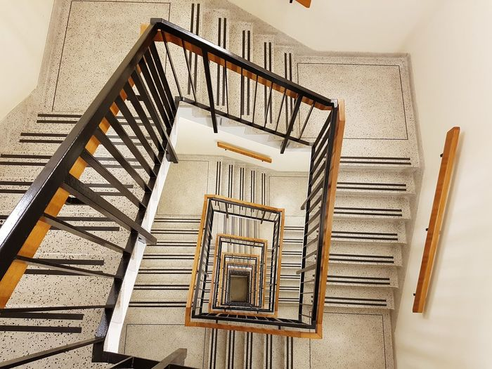 looking down Steps And Staircases Staircase Steps Spiral Railing Spiral Stairs Architecture High Angle View No People Hand Rail Stairs Built Structure