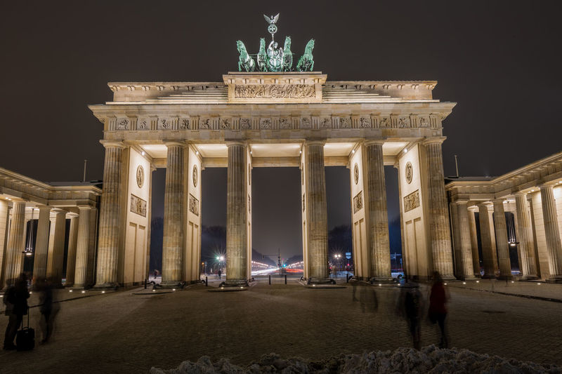 Low angle view of illuminated brandenburg gate at night