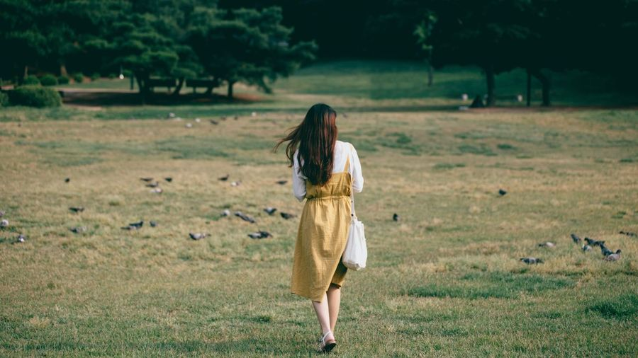 2017/06/09 Grass Field Walking Nature One Person Full Length Long Hair Outdoors Young Adult Landscape Real People Day Tree Young Women Adult People