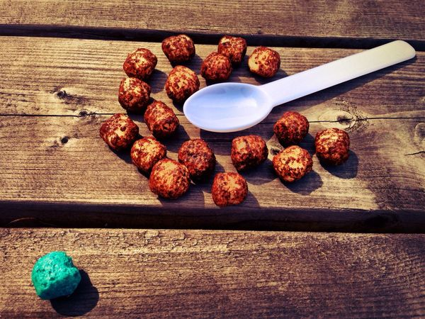 The brown snack balls huddle around the spoon, wondering what it is, while the blue ball knows better. Snacks! Balls Snack Balls Spoon Brown Blue Table Wood Wooden Wooden Table Food Sheep Rebel Outsider Followers Fools Caution Trap Spoon Trap Dangers Of Conformity Conformity