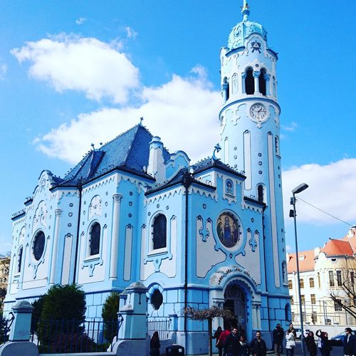 The blue church in Bratislava .. Building Exterior Religion Travel Destinations Architecture Outdoors Medieval People Day Travel Church Classic Marshmallows Blue Weather Blue Church Jesus Bratislava, Slovakia