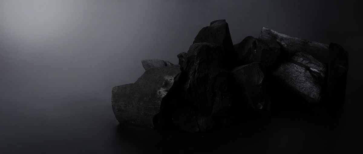 Close-up of rock formation in foggy weather