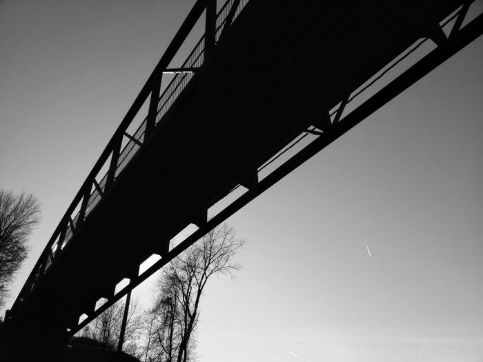 BnW Photography Wrought Iron Wooden Girder Bridge - Man Made Structure Silhouette Construction Frame Sky Architecture Built Structure