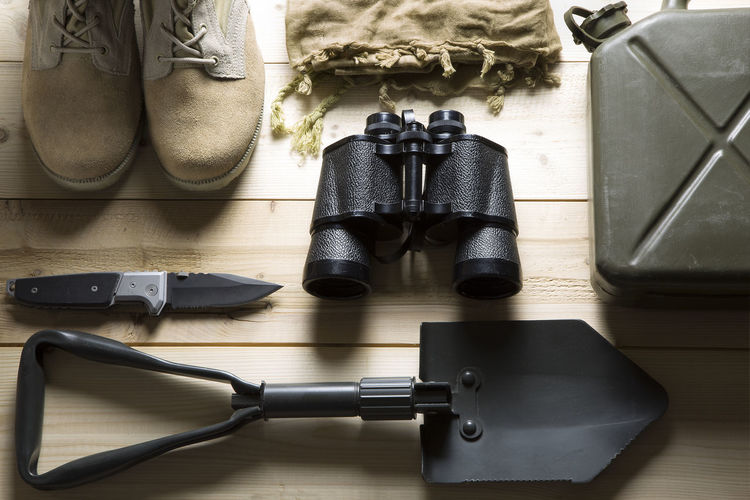 Directly Above Shot Of Hiking Equipment On Table