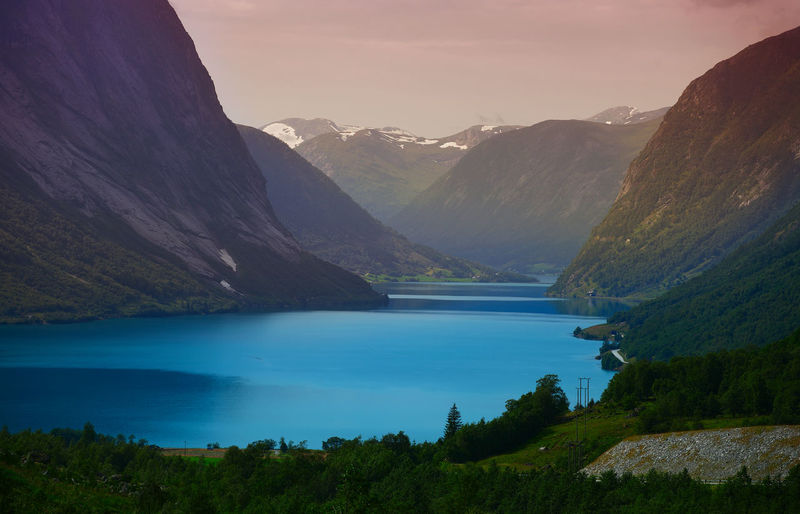 Fjord in Norway after sunset Landscape_Collection Nature Norway Scandinavia Travel Photography Beauty In Nature Evening Fjord Idyllic Lake Landscape Landscapes Mountain Mountain Range Nature No People Outdoors Physical Geography Scenics Sky Sunset Tranquil Scene Tranquility Water Wilderness