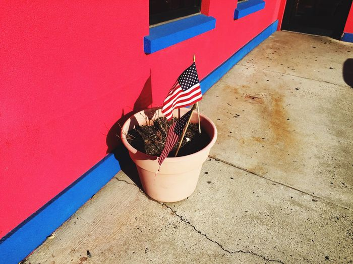 America Flag Diner Plantpot Red And Blue Sun USA Virginia