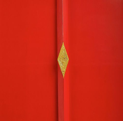 Red door with gold rhombus, close up. Red Temple Door Colour Of Life Close-up Thailand Thai Culture Building Exterior Gold Minimalism Abstract Colour Your Horizn
