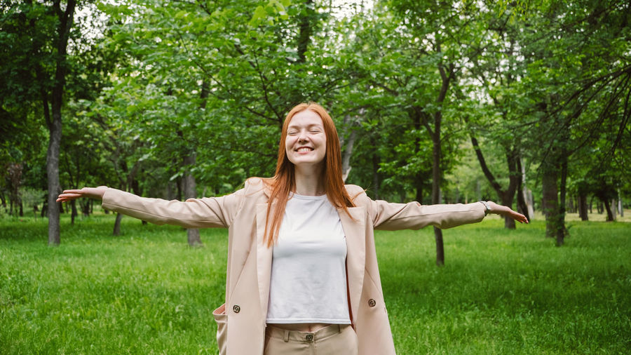 World mental health day, work-life balance, spread positive messages concept. redhead woman