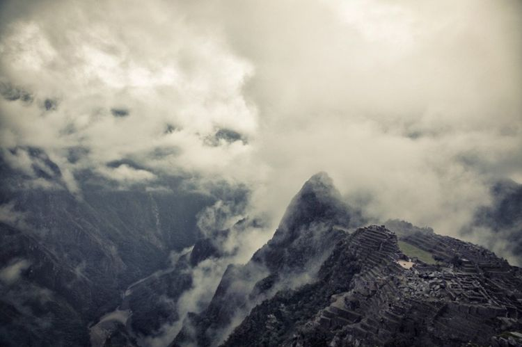 Aerial Shot Travel Mountains Clouds Machu Picchu