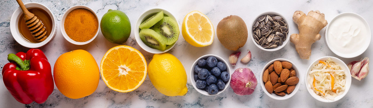 Directly above shot of multi colored fruits on table
