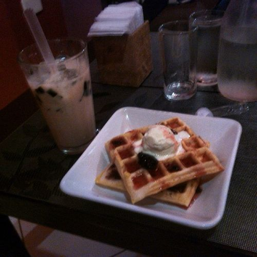 blueberry Waffle and Wintermelon milk tea here at marcena in abucay, bataan with lianne and emman