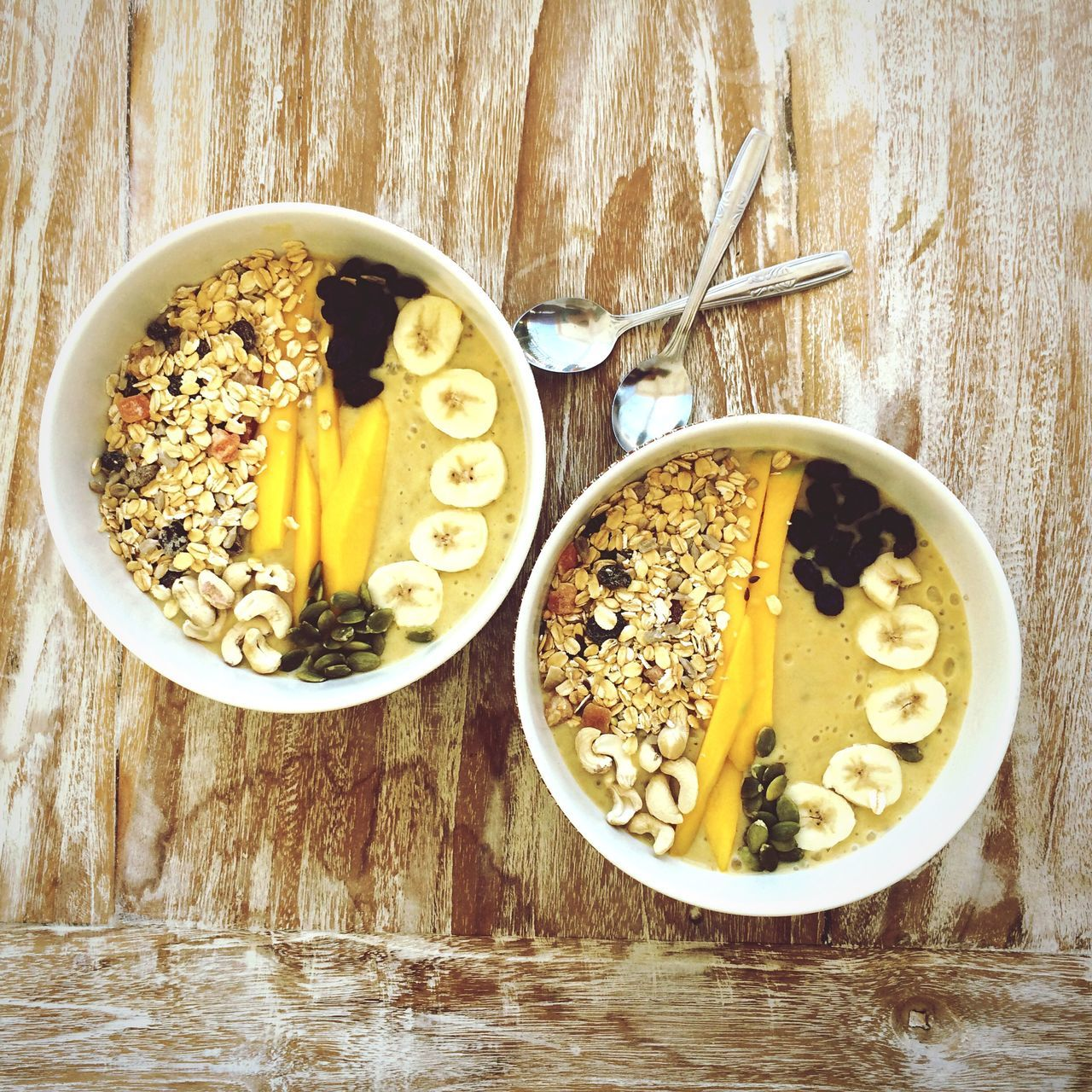 High angle view of breakfast in bowls on table