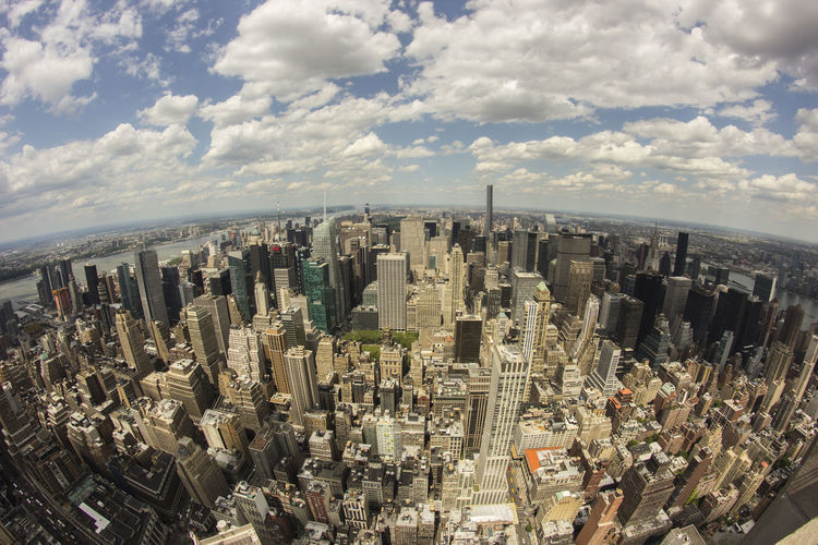 Aerial View Architecture Architecture Building Building Exterior Built Structure City Cloud - Sky Clouds And Sky Fish-eye Lens Fisheye Modern New York NYC One World Trade Center Outdoors Sky Skyline Skyscraper Sun View The Architect - 2017 EyeEm Awards