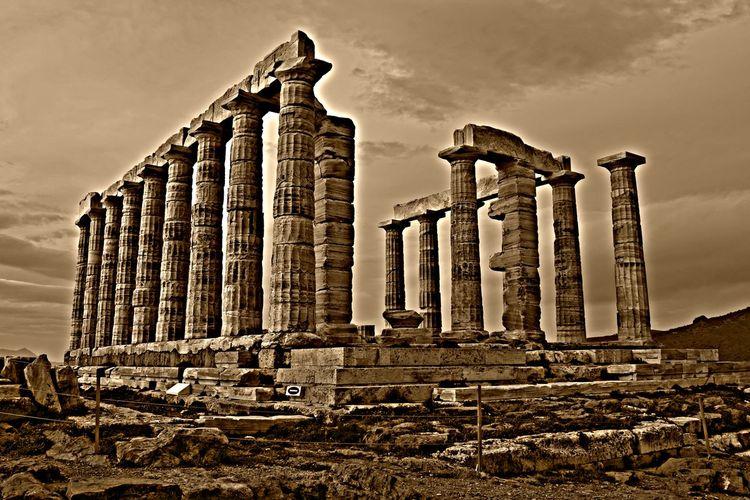 Ο ναός του Ποσειδώνα στο Σούνιο. Ancient Greek Greece PosidoniusTemple Sounion