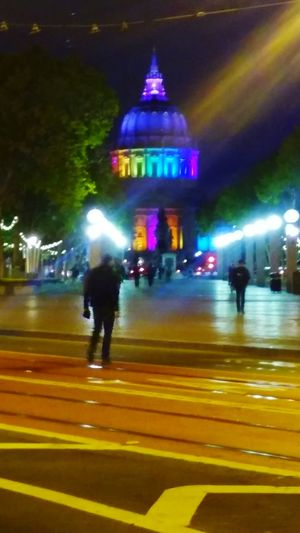 People And Places Illuminated Blurred Motion Night Architecture Street Travel Destinations Pride. San Francisco. City Hall