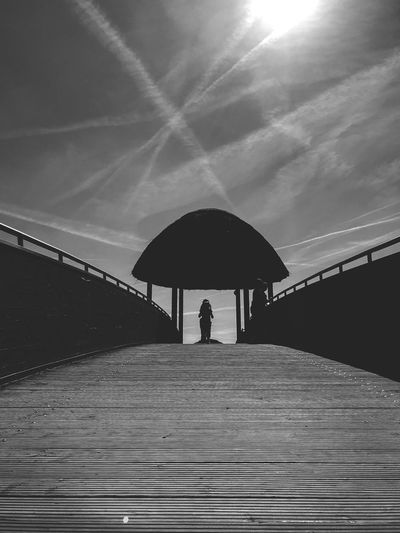 Blackandwhite Photography Blackandwhite Sky Umbrella One Person Real People Cloud - Sky Lifestyles Protection Silhouette Outdoors