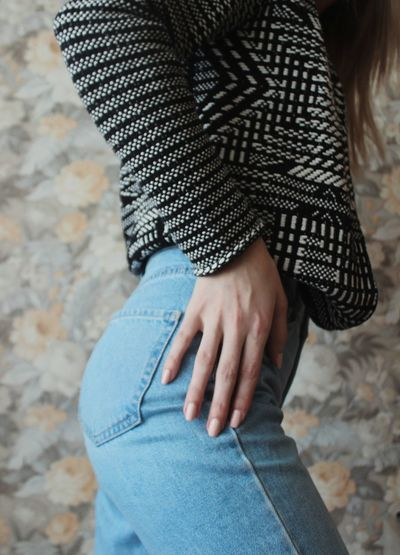 Jeans Jeans Clothing Young Woman Brown Hair Mom Jeans High Waisted Jeans Minimalism Pastel Colored Russian Girl Style And Fashion Abdomen Human Hand Close-up Denim