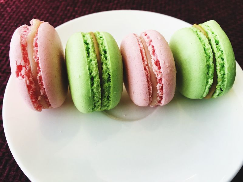 Temptation Scrumptious Vice Delicious Sugar Pink And Green Still Life Food And Drink Indulgence Freshness Plate High Angle View Indoors  Food Ready-to-eat Macaroon Table Sweet Food No People Close-up Day Temptation