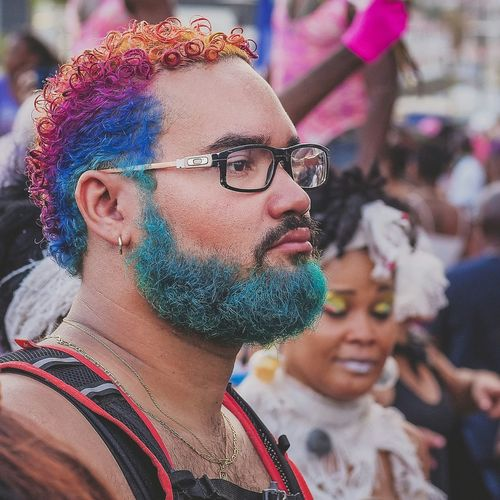 Fancy Haircut Colors Of Carnival Hair Colors Street Photography Young Man Beard Fantasy Fun Crazy Carnival Pastel Power Island Life Martinique