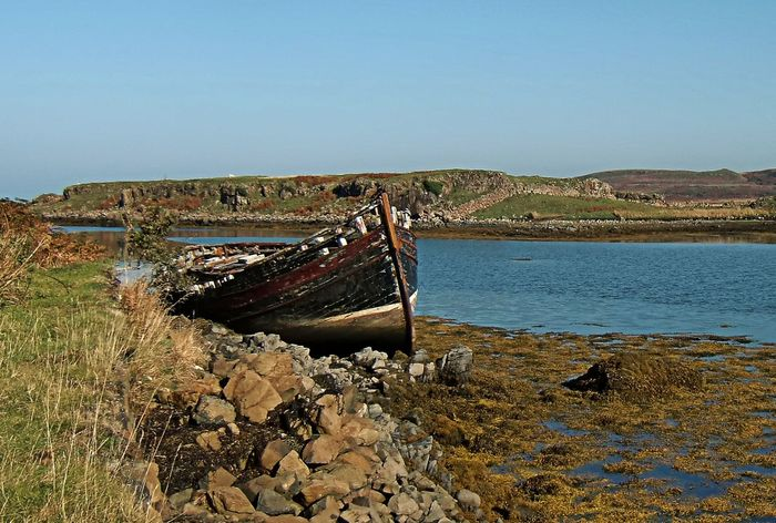 Abandoned Beauty In Nature Clear Sky Damaged Day Nature Nautical Vessel No People Outdoors Scenics Sea Sky Sunken Water