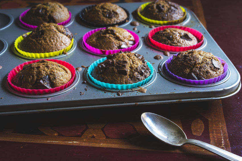 Home made muffins Breakfast Cake Dessert Food High Angle View Muffins No People Pastry Ready-to-eat Spoon Still Life Sweet Food Temptation