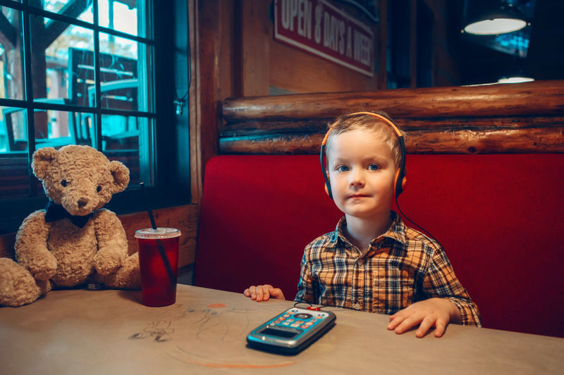 Portrait of boy with toy sitting at restaurant