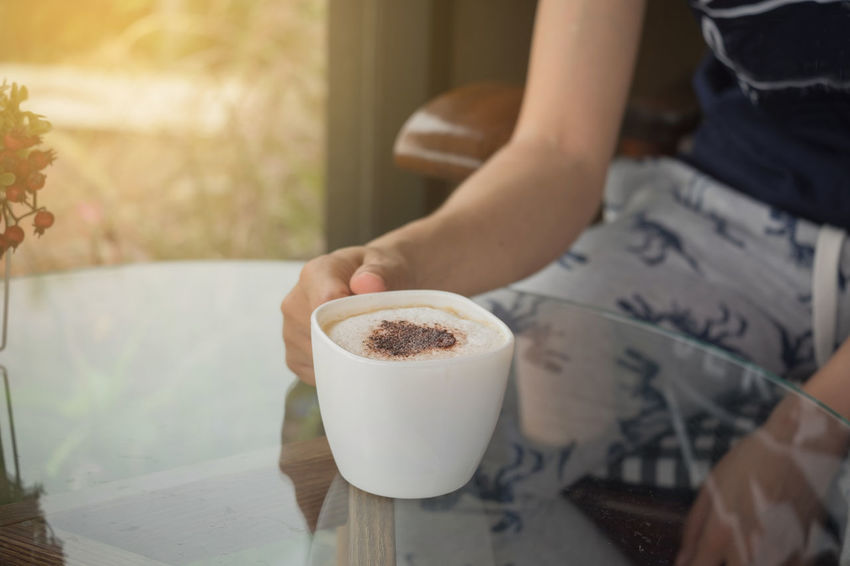 Coffee Time Beauty In Nature Morning Coffee Sunlight Sunset Nature Hand Real People Touching Outdoors Capuccinno Lattemacchiato Americano Caffè Latte Arabicacoffee