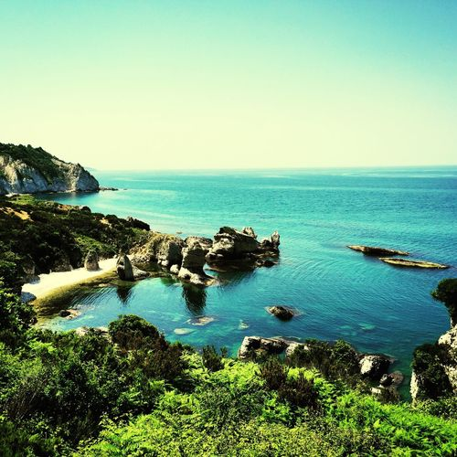 Sea Water Horizon Over Water Scenics Tranquil Scene Beauty In Nature Tranquility Tourism Rock - Object Blue Clear Sky Nature Idyllic Non-urban Scene Travel Destinations Rock Formation Day Outdoors Cliff Seascape