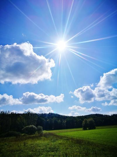 Sunbeam Sun Sky Cloud - Sky Sunlight Nature Beauty In Nature Blue No People Outdoors Day Grass Freshness EyeEmNewHere